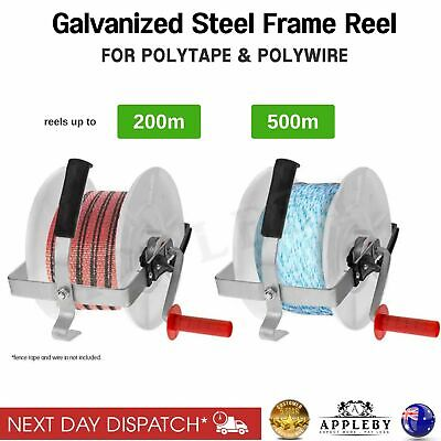 Polywire Electric Fence Wind Up Reel 25cm 500M Solar Grazing Strip Rope Winder