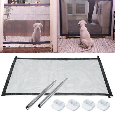 Pet Dog Safety Gate Baby Enclosure Stair Safe Guard Folding Magic Net Mesh Fence