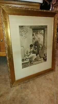 Antique Engraving Art Gilded Frame - Paul Thumann - Beautiful Early 1900's