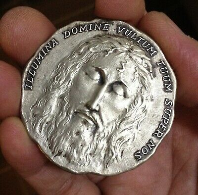 HOLY FACE OF GOD From Shroud of Turin Aluminum Vintage 3/4