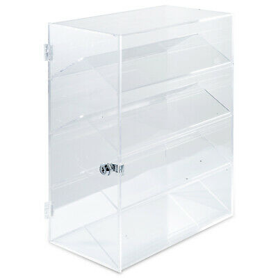 Acrylic Display Cabinet Glued L33 x W19 x H44 CM Lockable Clear Transparent