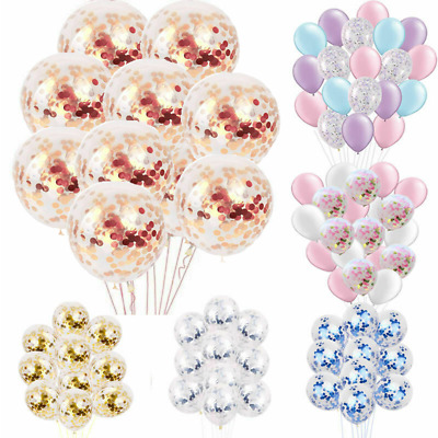 "10-20PCS 12"" Confetti Latex Balloons Helium B-DAY Party Wedding Baby Shower Hen"