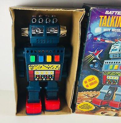Vintage Rare Talking Robot Battery Operated Plastic Original Box 1970s Walking