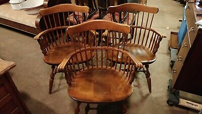 Set Of 3 Nichols and Stone windsor Captains Arm Chairs