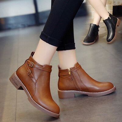 ce44a805 NEW WOMENS LADIES Flat Ankle Boots Casual Buckle Side Zip Low Heel ...