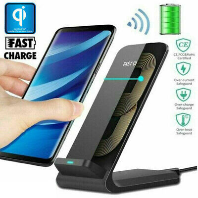 Qi Wireless Fast Charger Charging Pad Stand Dock for Samsung S10 / iPhone XS XR