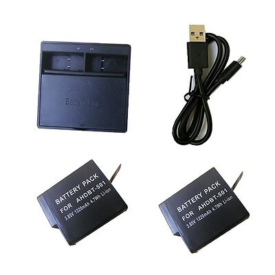 2X Battery  double dual slots channel charger for GoPro HERO 5 HERO6 AHDBT-501