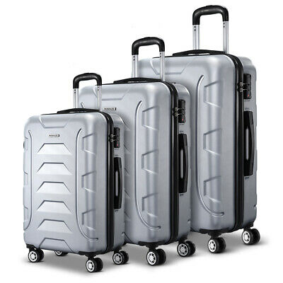 3-PCS Super Lightweight Luggage Hard Shell Travel Suitcase Retractable Trolley