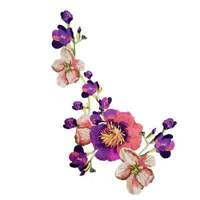 Embroidered Peony On Patch Flower Applique Iron On Sew Dress Clothing DIY