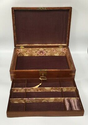 Antique Jewellery Box LARGE Lift Out Tray Lilac Velvet Working Lock And Key