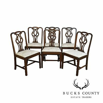 Chippendale Style Vintage Custom Mahogany Set 6 Dining Chairs