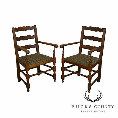 French Country Style Antique Pair Oak Ladder Back Armchairs