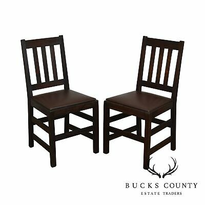 Antique Mission Oak Pair Side Chairs