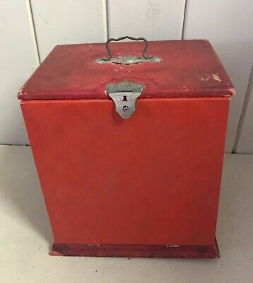 Vintage French Red Wooden Box Drop Front with Handle & Ornate Closer Clock ?