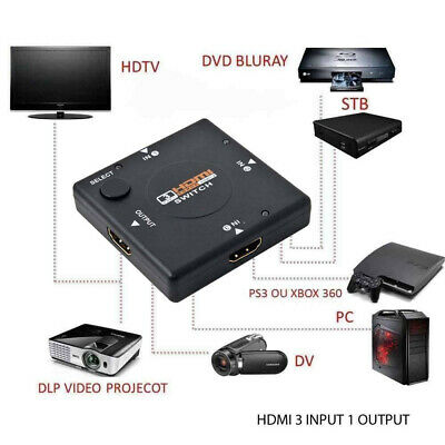 1 HDMI Output to 3 HDMI Inputs 3 Port Switch AUTO Splitter 1080P For PS3 PC DV