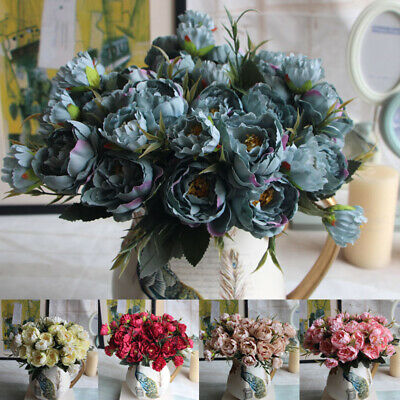 Artificial Silk Rose Flowers Bouquet Fake Leaves Wedding Peony Party Decor DIY