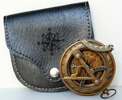 Antique Nautical Push Button Sundial Compass W/ Leather Case Marine Item 2""