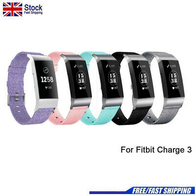 For Fitbit Charge 3 Strap Woven Nylon Fabric Watch Band Replacement Wristband UK
