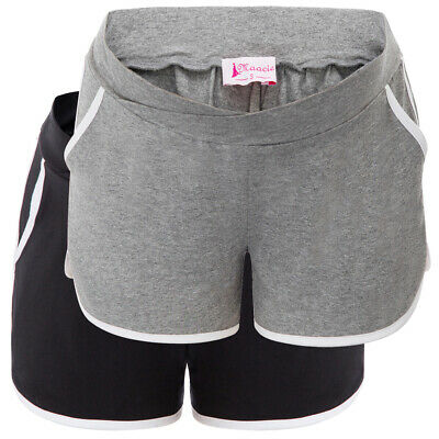 Womens Shorts Pregnant Cotton Stretch Comfy Casual Summer Side pockets Low-rise