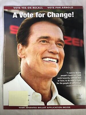 Arnold Schwarzenegger for Governor California Official 2003 Application Ballot