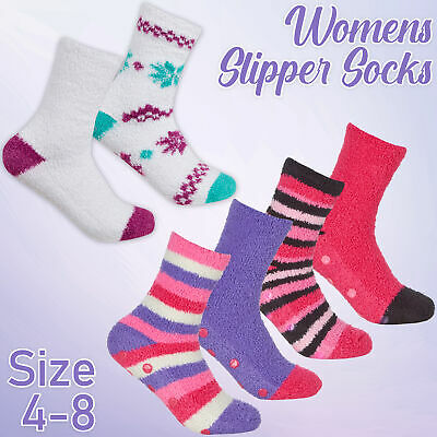 Ladies Womens Bed Fluffy 2 Pairs Socks Anti Non Slip Grippers Soft Cosy Size 4-8