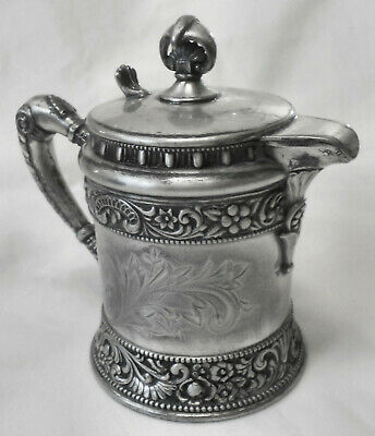GORGEOUS!! Atq WILCOX SILVERPLATE CO Ornate Embossed Creamer Syrup Jug Pitcher