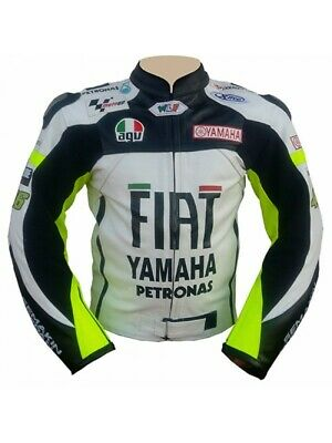 Valentino Rossi VR46 Yamaha Fiat Motorcycle Racing Leather Jacket
