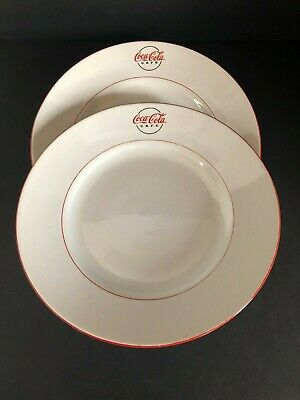 Coca Cola Cafe 2 Diner Plates Gibson China Red White Dinner Dinnerware Vintage