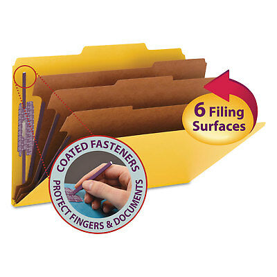 """Smead 3"""" Expansion Classification Folders 2/5 Cut Legal 8-Section Yellow 10/Box"""