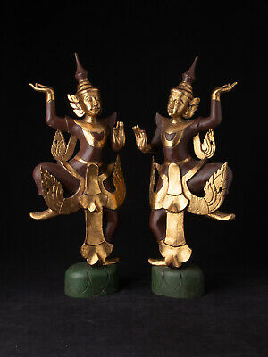 Pair of Burmese dancing figures from Burma, Newly made from teakwood