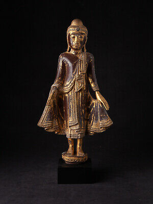 Antique wooden Mandalay Buddha statue from Burma, 19th century
