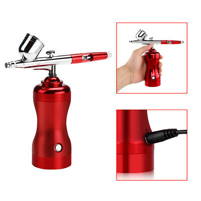 Airbrush Kit Compressor Cordless Dual Action Needle Paint For Makeup Hobby Craft