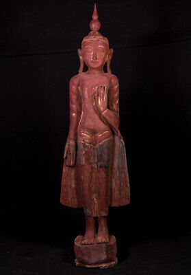 Antique wooden Buddha statue from Burma, 19th century