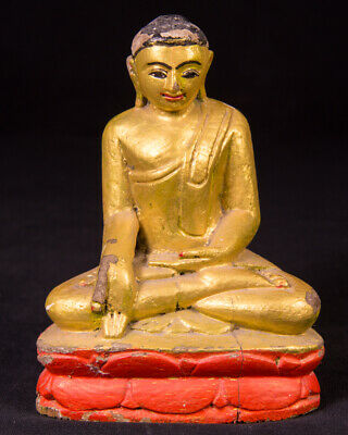 Old wooden Buddha statue from Burma, Middle 20th century