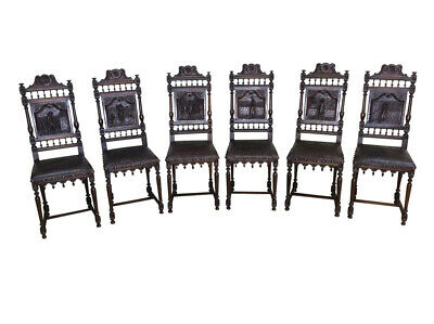 Wonderful Set of Six French Breton Dining Chairs, Pressed Leather, 1900's, Oak