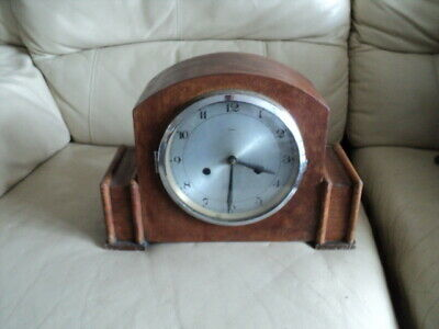Antique Wooden Cased Chiming Mantle Clock For Repair Made in England