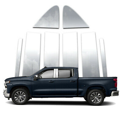 Fit 2019 Chevy Silverado 1500 Double//Crew Cab 8PC Stainless Pillar Post Trim