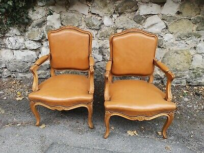 Antique Pair Of French Leather Armchairs