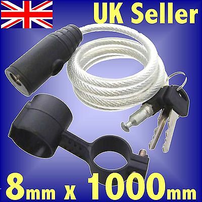 8mm x 1000mm Bicycle Cable Spiral Lock 2 keys bike scooter security cable 1m