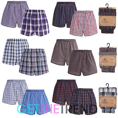2/4 Pack Mens Boxers Shorts Cargo Bay Woven Cotton Underwear Check Stripe Trunks