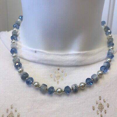 Soft Blue and White Czech Glass Beads and Glass Pearls Handmade Necklace Silver