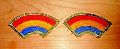 Vintage WWI~WWII Rainbow Patch 42nd Infantry Division, Lot of 2