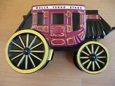 Wells Fargo Bank Commemorative 1998 Metal Stagecoach Coin Bank  WITH KEY