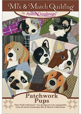 Anita Goodesign - Patchwork Pups - Quilting Coll- Machine Embroidery Designs Usb