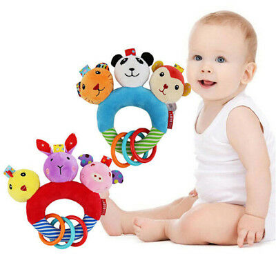Animal Educational  Hand Plush Baby Bell Toys Soft Toy Grasp Ball Rattles Cloth