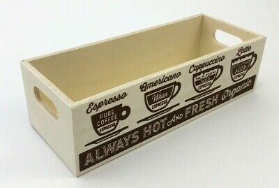 Vintage Coffee Storage Box Wood Crate Pod Storage Container Organizer Small Mini