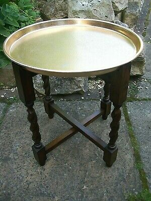 Antique Anglo/Indian Oak Barley Twist  Folding  Side Table  With Brass Tray Top