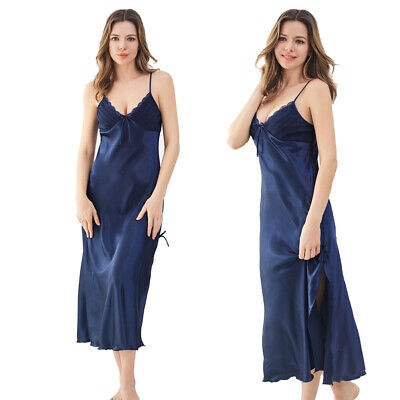 Women's Long Satin Lace Slip Sexy Blue Nightgown Lingerie Chemise Robes