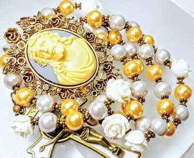 Beautiful Vatican Style Gold Silver Pearl Jesus Cameo Benedict Catholic Rosary