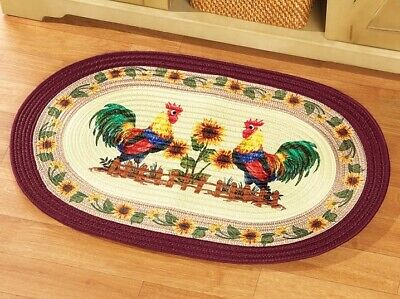Washable Non-Skid Rooster Kitchen Mat/Rug Half Circle 19 x ...